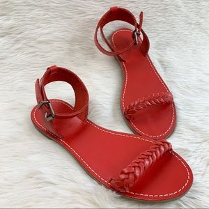 MADEWELL Red Leather Braided Sightseer Sandal